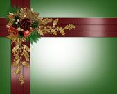 Noel sınır zarif kırmızı kurdela — Stok fotoğraf