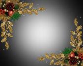 Christmas border elegant pine cone — Stock Photo