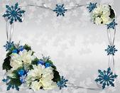 Noel beyaz sınır poinsettias — Stok fotoğraf