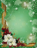 Christmas border ribbons and poinsettias — Stok fotoğraf