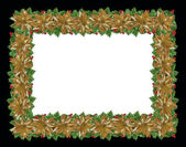 Christmas holiday border holly gold — Stock Photo
