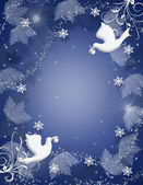 Christmas Background Holly doves sparkle — Stock Photo