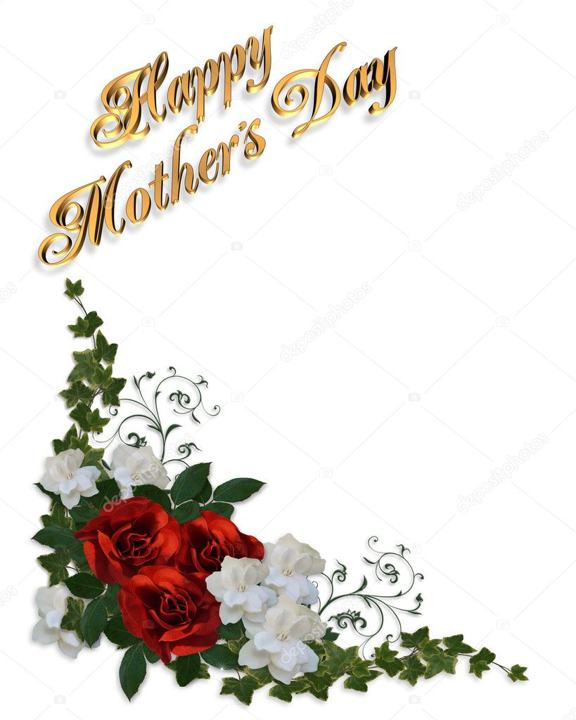 3 dimensional gold text, Happy Mothers Day with red roses and white gardenias for greeting card border or background, copy space,  — Stock Photo #2125088