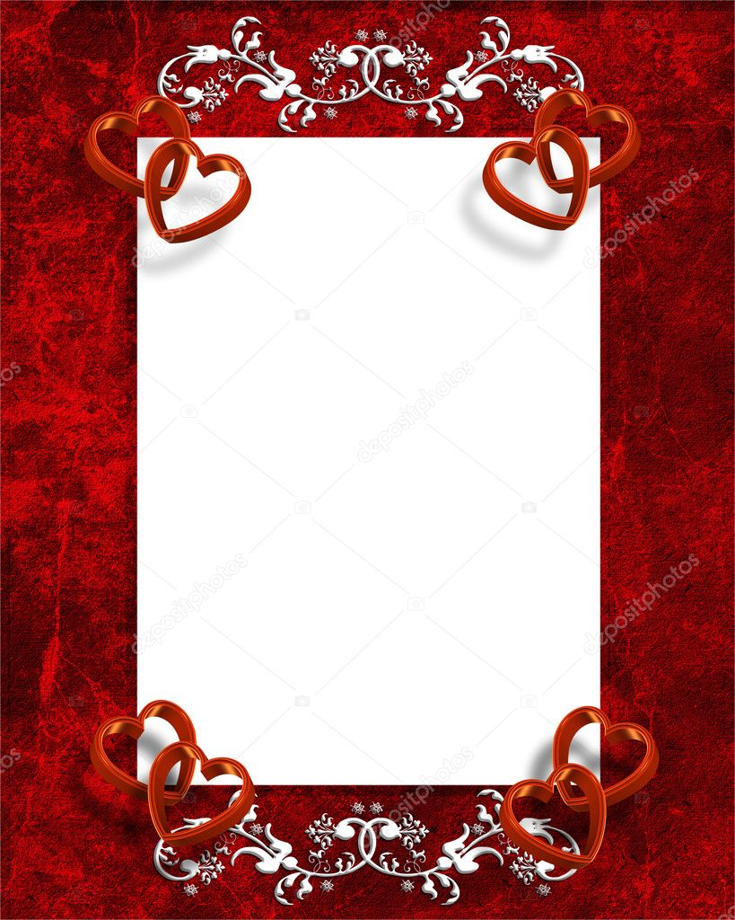 Illustrated red hearts for Valentines day card, invitation border, frame or background with copy space. — Stok fotoğraf #2125887