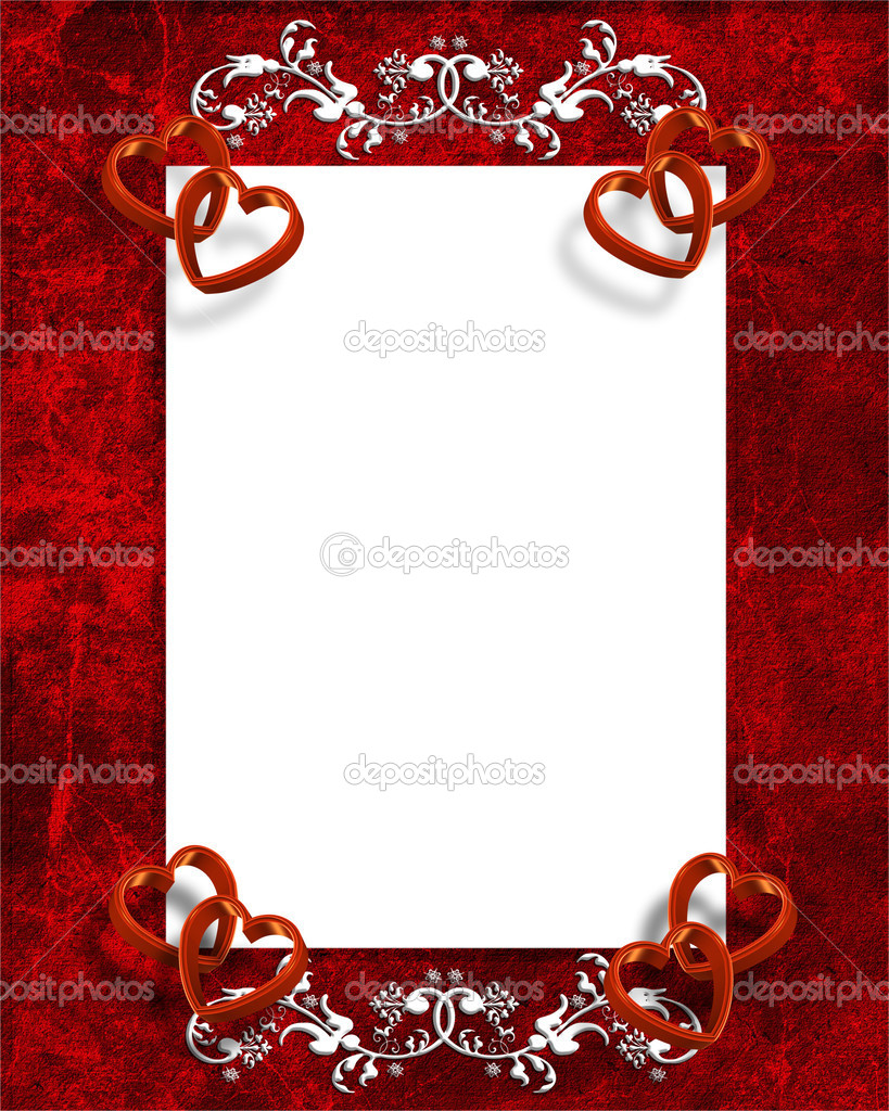 Illustrated red hearts for Valentines day card, invitation border, frame or background with copy space.  Photo #2125887