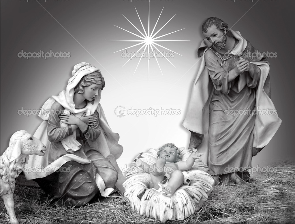 Christmas Nativity scene of the holy family for religious greeting card or background in black and white — Stock Photo #2128890