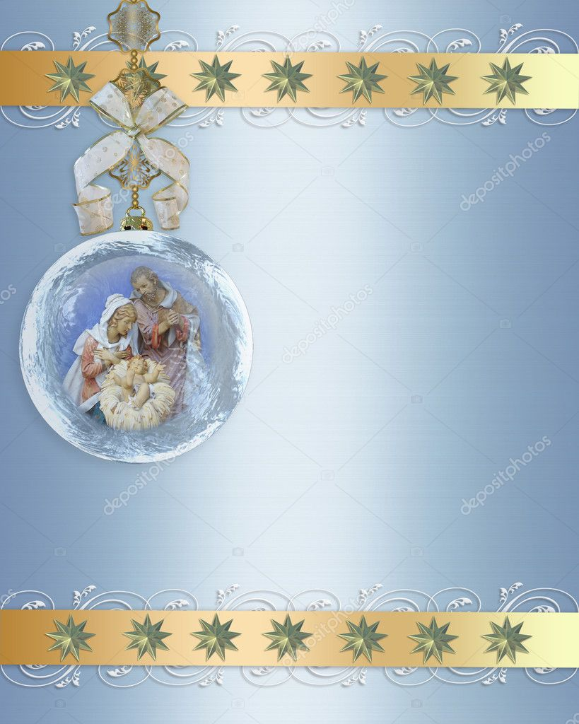 Christmas Nativity scene of the holy family for religious greeting card or background in glass ornament, copy space — Zdjęcie stockowe #2128912