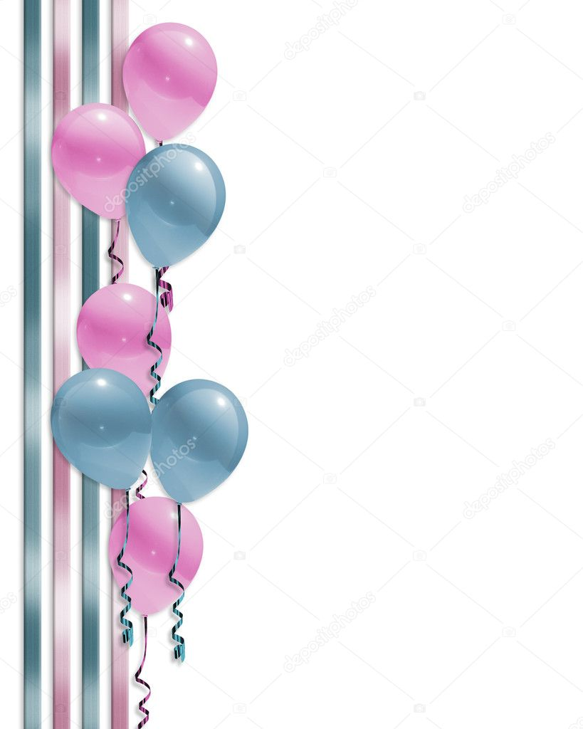 Pink and blue illustration balloons border for baby shower invitation ...