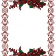 Christmas Holiday Border holly berries - Stock Photo