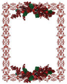Christmas Holiday Border holly berries — Stock Photo