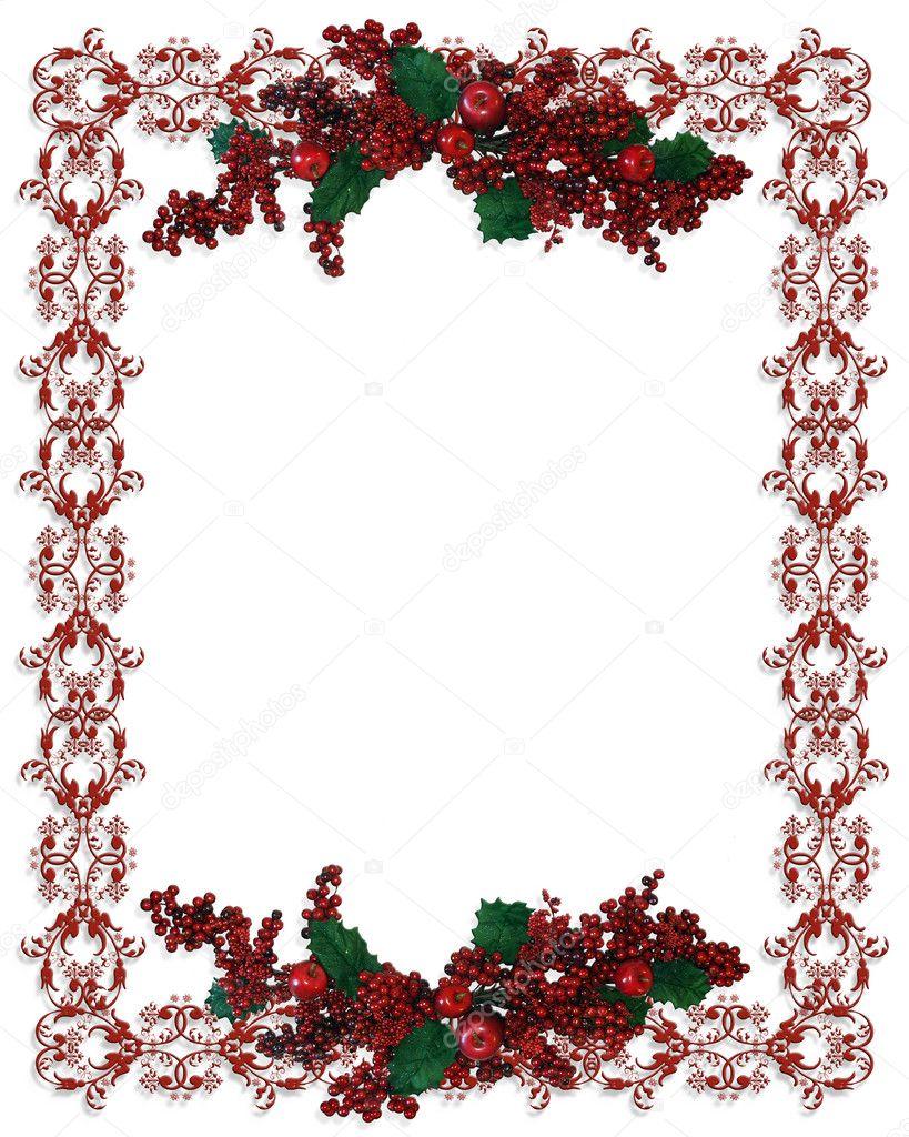Christmas Holiday Border Holly Berries Stock Photo