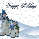 Christmas Snowman holiday card — Stock Photo