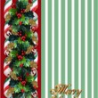 Royalty-Free Stock Photo: Christmas Holly Border over green stripe