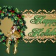 Stock Photo: Happy Holidays Christmas Wreath
