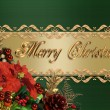 Stock Photo: Christmas Border Green And Gold Satin
