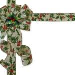 Kerstmis grens holly lint en boog — Stockfoto