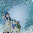 Christmas Snowman border blue — Stock Photo #2143310