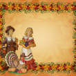 Thanksgiving pilgrims Autumn background - Stock Photo