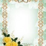 Wedding invitation yellow roses border — Stock Photo