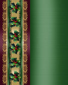 Christmas Border Holly and ribbon elegan — Stock Photo