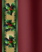 Christmas Border Holly ribbon elegant — Stock Photo