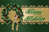 Happy Holidays Christmas Wreath — Stock Photo
