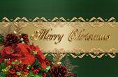 Noel sınır yeşil ve altın saten — Stok fotoğraf