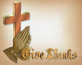 Thanksgiving Praying hands and Cross — Stock Photo