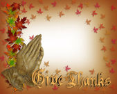 Praying hands Thanksgiving card — Stock Photo