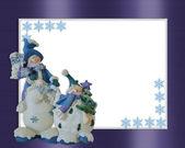 Christmas Snowman border blue — Stock Photo