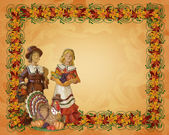 Thanksgiving pilgrims Autumn background — Stock Photo