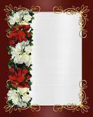 Noel sınır poinsettias — Stok fotoğraf