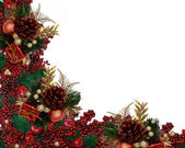 Christmas Holly Berries Garland Border — Stock Photo