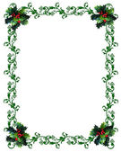 Christmas border Holly — Stock Photo