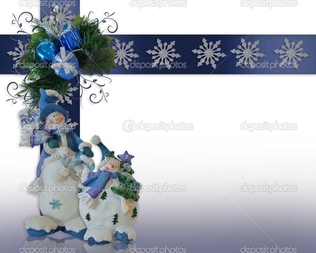 Image and illustration composition of snowman ornaments for winter or Christmas holiday background, border with copy space  Stock Photo #2140878