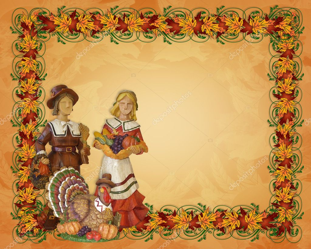 Image and Illustration composition for Thanksgiving invitation, border or background with pumpkins, gourds, wooden pilgrims, copy space. — Stock Photo #2143388