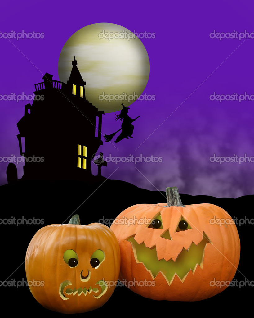Image and illustration composition for Halloween card, party invitation background, with witch, pumpkins, haunted house and copy space — Stock Photo #2143811