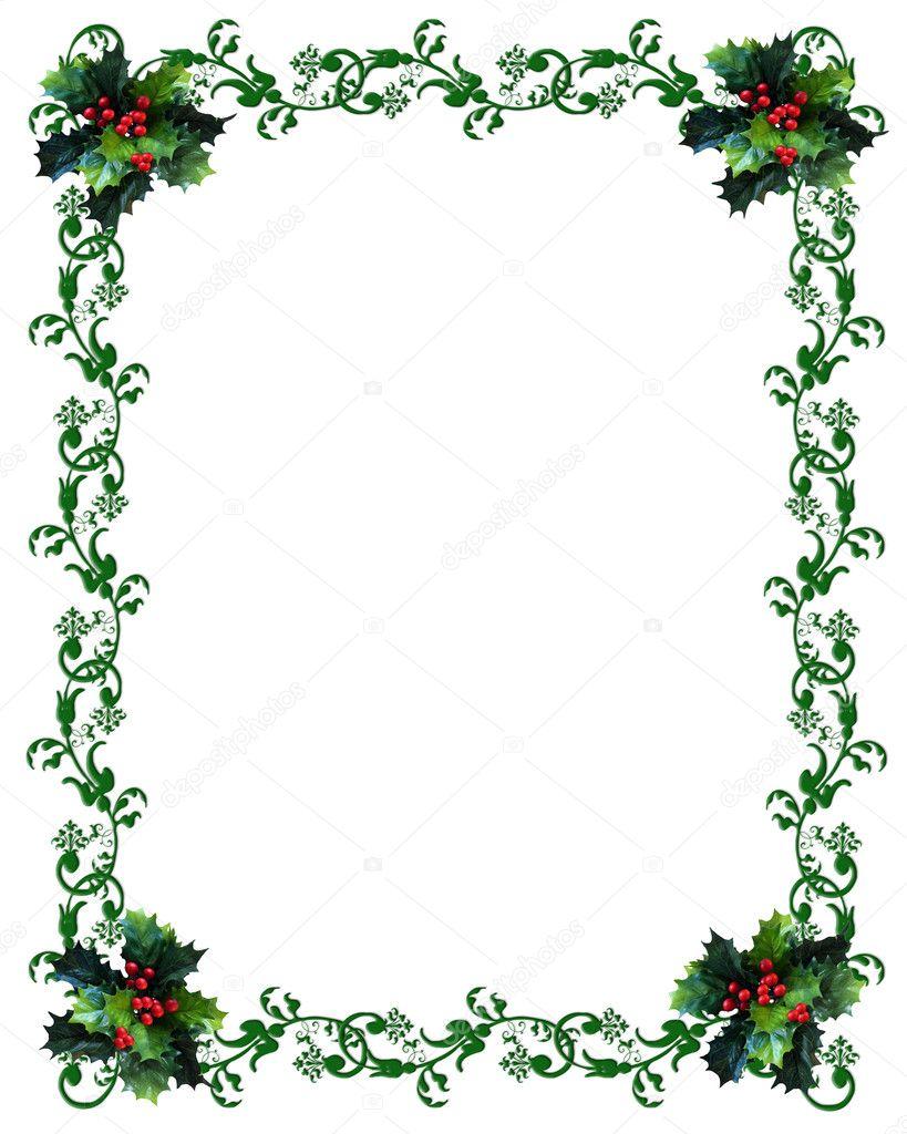 Christmas border Holly — Stock Photo © Irisangel #2143861