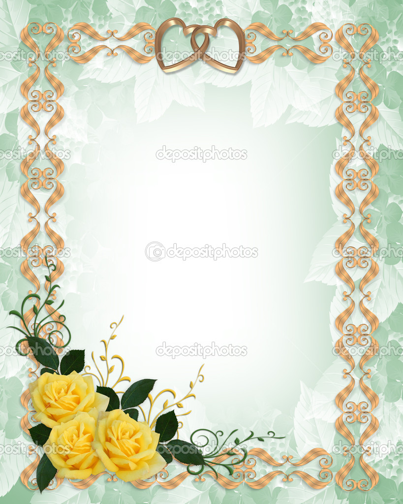 wedding invitation yellow roses border stock photo irisangel 2145816. Black Bedroom Furniture Sets. Home Design Ideas