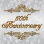 50th Wedding anniversary invitation — Stock Photo