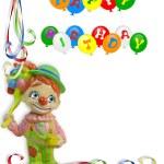 Happy Birthday Invitation Clown — Stock Photo