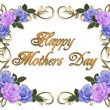Stock Photo: Mothers Day Card roses lavender Blue