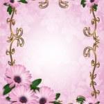 Daisy Border wedding invitation lavender — Stock Photo