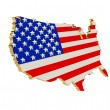 USA Patriotic Stars and stripes map 3D — Stock Photo