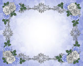 Wedding invitation border blue roses — Stock Photo