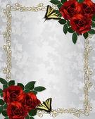 Red RosesBorder Wedding invitation — Stock Photo