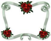 Red Roses ribbons wedding Invitation — Stock Photo
