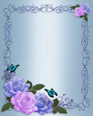 Wedding invitation roses Blue Lavender — Stock Photo