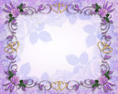 Wedding invitation border Lavender roses — Stock Photo