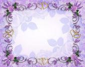 Rosas de boda invitación frontera lavanda — Foto de Stock